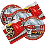 Fireman Fire Truck Themed Birthday Party Plates & Napkins Serves 16