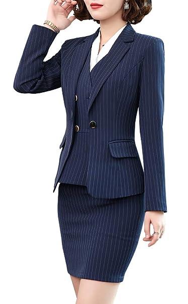 Amazon.com: Blazer de tres piezas para mujer, con rayas y ...