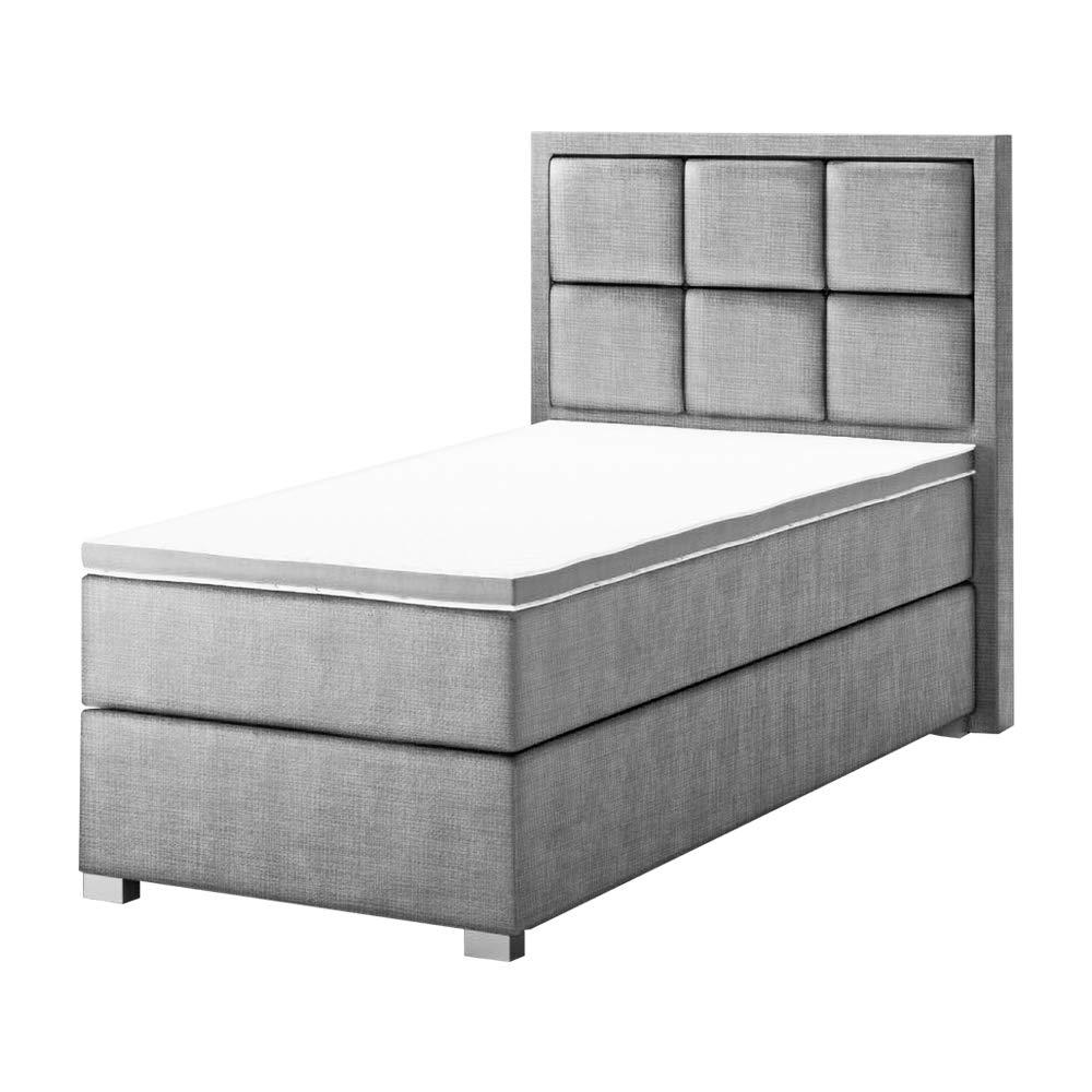 Selsey Praline – Boxspringbett/Einzelbett mit Topper und Kunstleder-Bezug in Grau, 100x200 cm