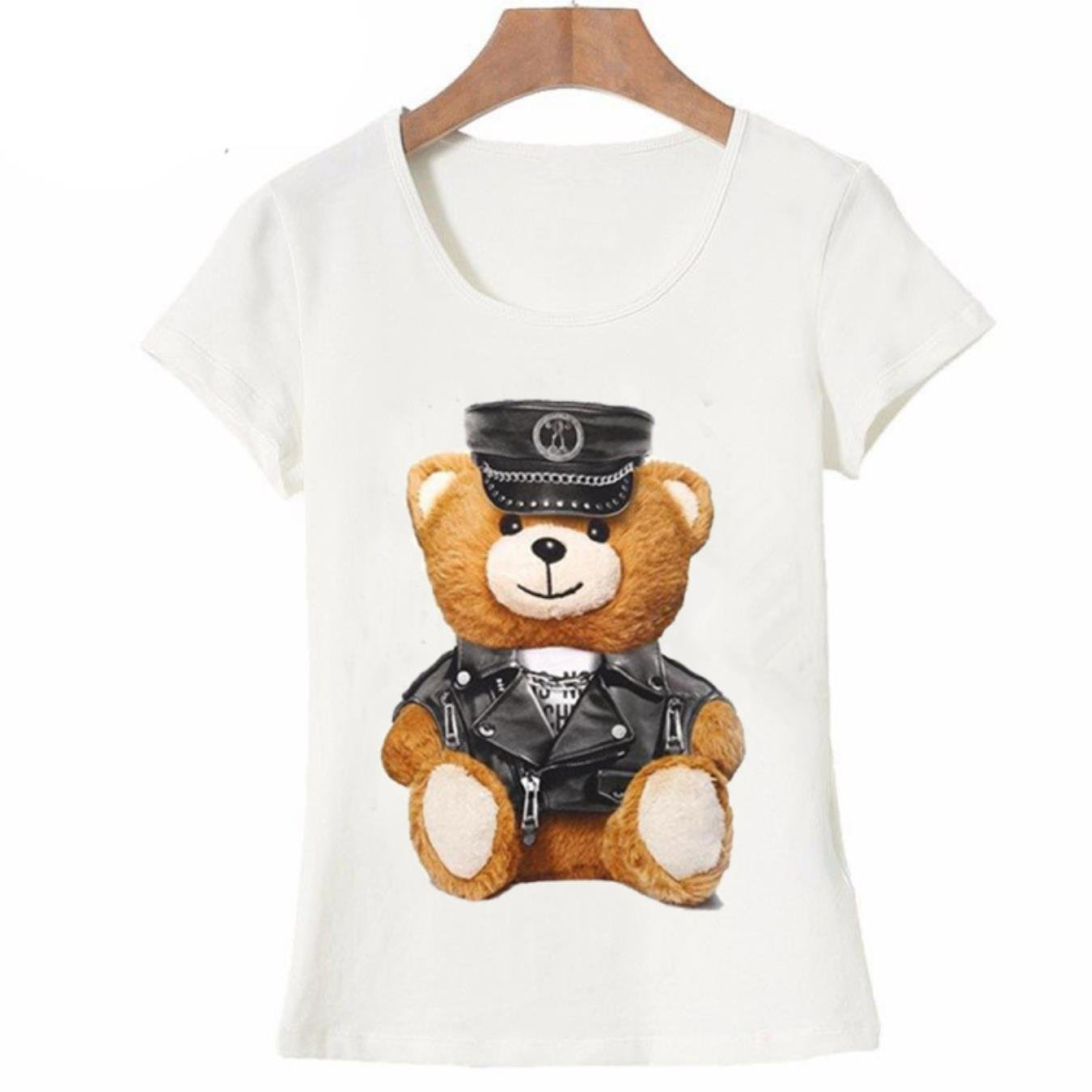 New summer fashion Women39;s short sleeve super cute vogue Police bear Teddy T-shirt white tops cool hipster tees