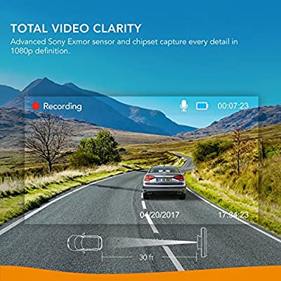 Roav DashCam A1, by Anker, Dash Cam, Dashboard Camera Recorder, 1080P FHD, Nighthawk Vision, Wide-Angle View, WiFi, G-Sensor, WDR, Loop Recording, and Night Mode