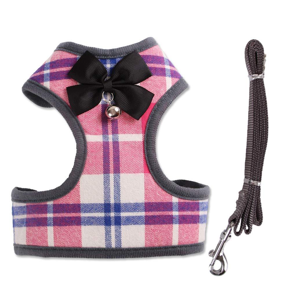 Imbracatura Gilet per Animali Domestici con Rete Bowknot Imbottita per Cani di Piccola Taglia Chihuahua Yorkies Pug Smoro guinzaglio e guinzaglio per Cani Piccoli