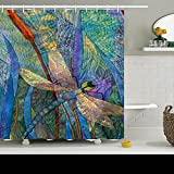 Family Unique Decorative Custom Xmas Shower Curtains Colorful Dragonflies Waterproof Polyester Fabric Home Decor Bath Curtain Decor Bathroom Design Decorations 60 By 72 Inches