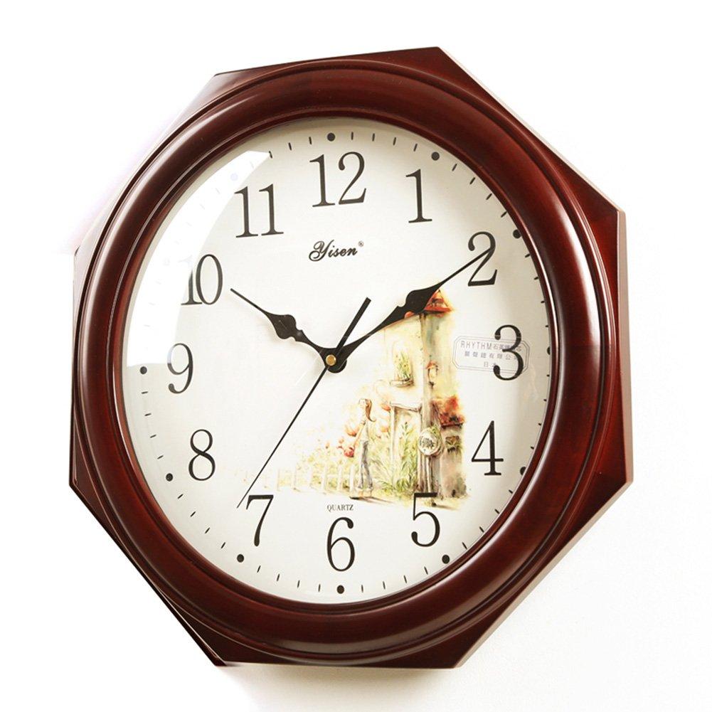 ヨーロッパの壁時計ソリッドウッド時計オクタゴンリビングルームミュートクォーツウォールクロックオフィスホームインテリアギフト B07DTL87T9