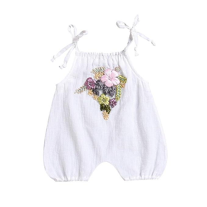 Amazon.com: fartido Pelele bebé niña sin mangas bordado 3d ...