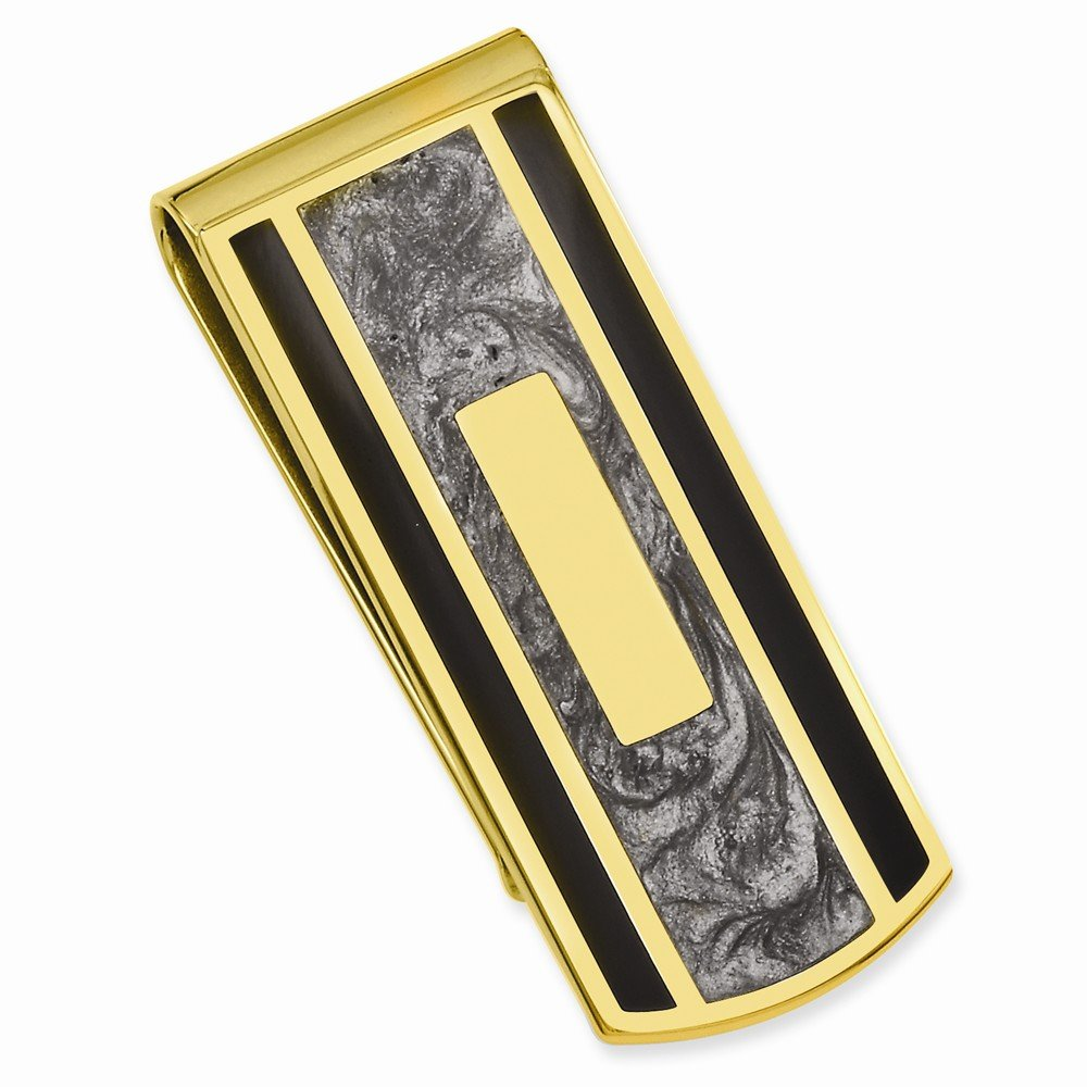 Gold-plated Black & Grey Colored Money Clip