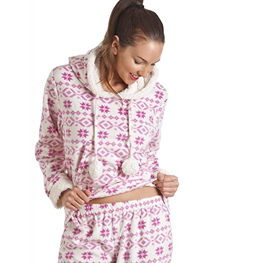 Amazon.com: Camille Supersoft Pink And White Hooded Fleece Pyjama Set 14/16 PINK: Camille: Clothing