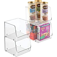 mDesign Large Household Stackable Plastic Food Storage Organizer Bin Basket with Wide Open Front for Kitchen Cabinets…