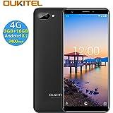 OUKITEL C11 PRO 4G SIMフリースマートフォン本体 - 5.5インチHD 全画面 18:9ディスプレイ Android 8.1 携帯電話本体 デュアルSIM(Micro) MTK6739 クアッドコア 3GB RAM+16GB ROM 8MP+2MP リアデュアルカメラ 2MP フロントカメラ 0.1s 指紋認識 3400 mAh バッテリー【一年保証】(ブラック)