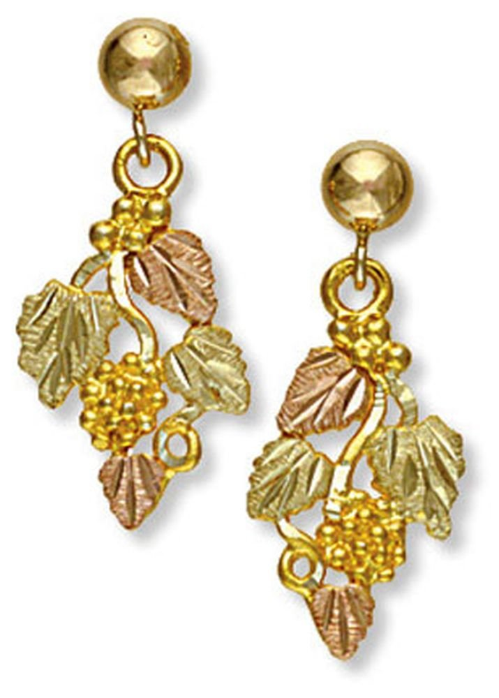 Landstroms 10k Black Hills Gold Earrings with Dangling Leaves and Grapes - 01630