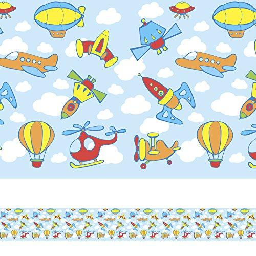 Faixa Adesiva Para Quarto Meninos Aviões e Naves 10mx10cm