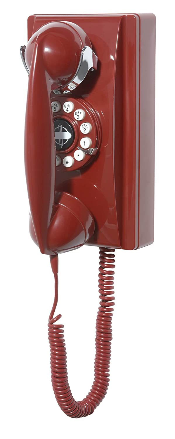 Crosley CR55-RE Wall Phone with Push Button Technology, Red