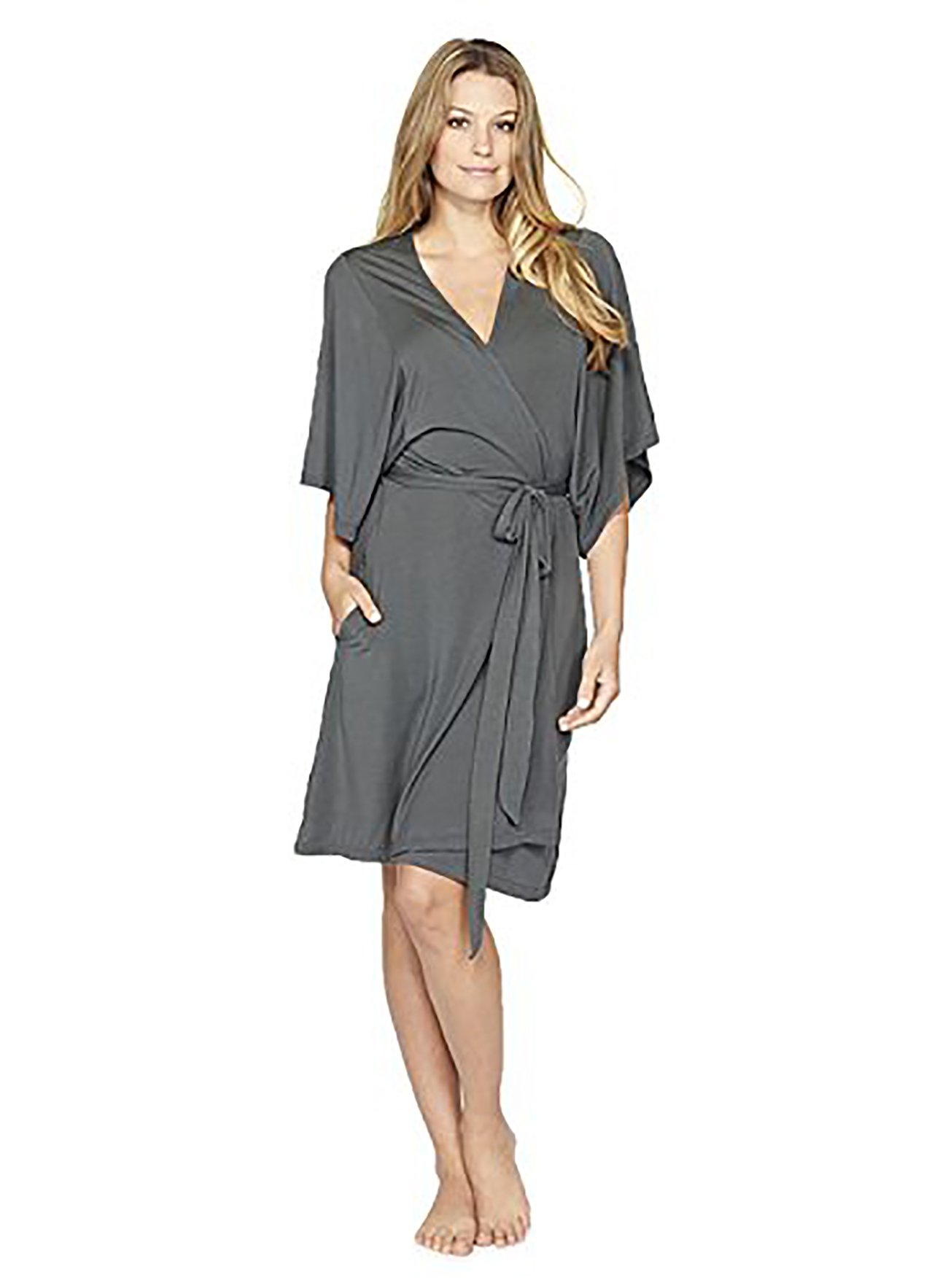 Barefoot Dreams Luxe Milk Jersey Short Robe - Graphite, Large