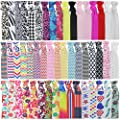 Mybigqueen No Crease Ouchless Elastics Styling Accessories Ribbon Hair Ties Ponytail Holders Bows Rubber Bands Fold Over Elastic For Women Girls Prints 100 ties