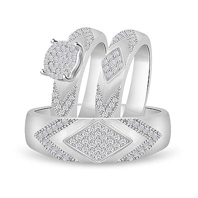 1eac079dab54a Amazon.com  Diamond Scotch 14K White Gold Over Mens and Women Trio ...