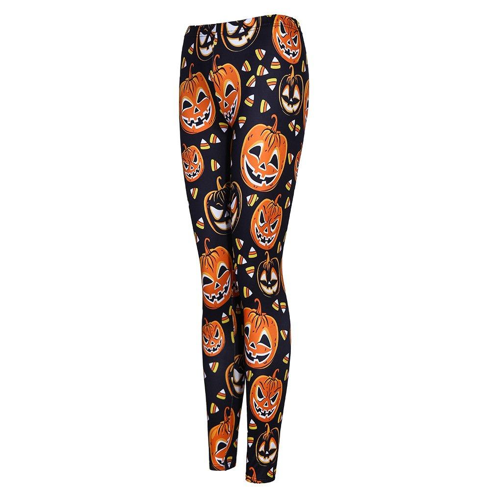 Women\'s Printed Leggings Full Length Colorful Pants (Large, Pumpkin)