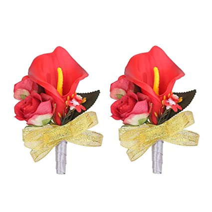 857715a9ab Febou Boutonniere Pack of 2 Calla Lily Wedding Boutonniere for Groom  Bridegroom Groomsman Perfect for Wedding, Prom, Party (B-Red)