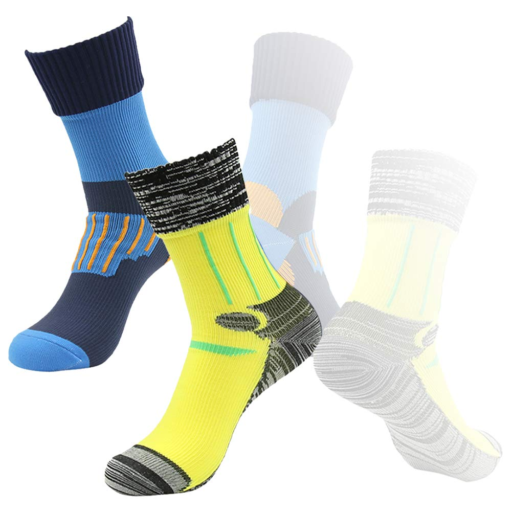 Waterproof Skiing Socks, RANDY SUN Men's 2 Pairs Running Midcalf Socks For Hiking In Mucky Conditions Blue&Yellow