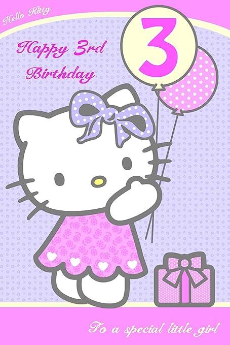Hello Kitty Tarjeta de felicitación tercero cumpleaños ...