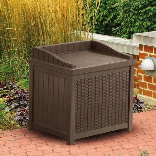 Cosmic Furniture Contemporary Wicker Design Patio Outdoor Resin Small Storage Seat Deck Box with Sturdy Resin Construction and Hassle Free Maintenance in Mocha Brown by Cosmic Furniture