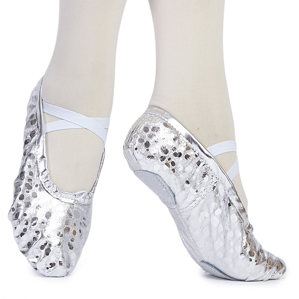 MSMAX Girl's Spot Pu Ballet Dancing Yoga Practise Shoes,Silver,8.5 M US by MSMAX (Image #5)