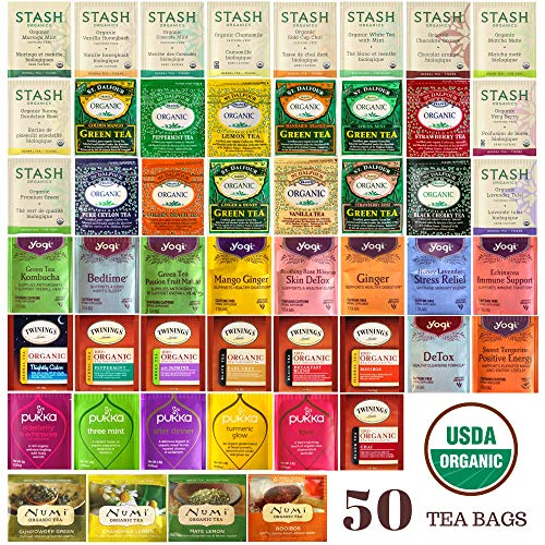 Organic Tea Sampler - Assortment Variety Pack - Black, White, Green, Herbal Tea Bags - 50 Flavors - Stash, Numi, Yogi, Twinings, Pukka - /w Eco-Friendly Cotton Bag