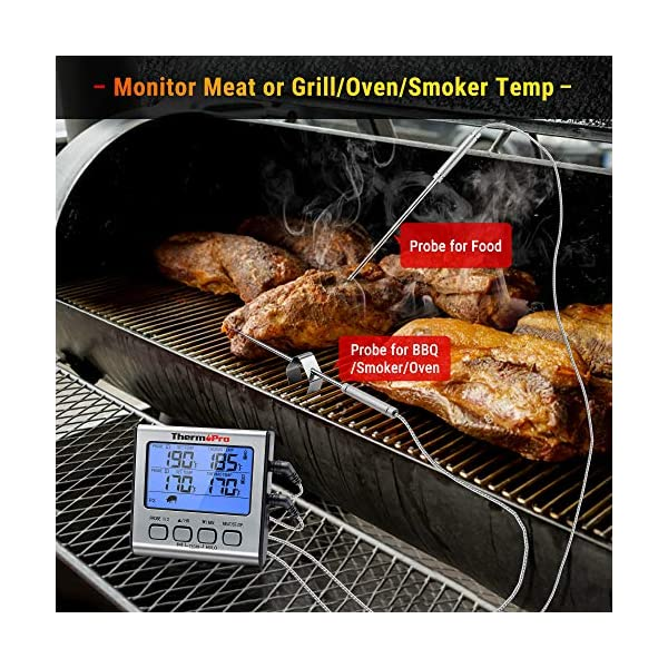 ThermoPro TP17 Termometro Cucina Digitale a Doppia Sonda con Modalità Timer e Display LCD per Cottura BBQ Alimenti Carne… 2