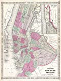 vintage nyc map - 1866 Map of NYC And Brooklyn 24x18 Art Print Posters Vintage Map New York City MADE IN THE USA