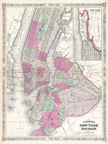Buyartforless 1866 Map of NYC and Brooklyn 24x18 Art Print Posters Vintage Map New York City Made in The USA