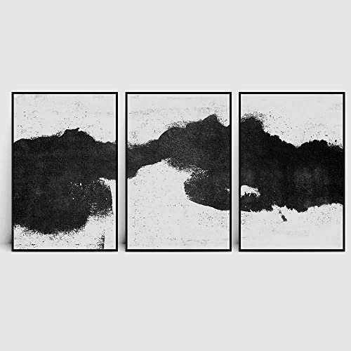 SIGNWIN 3 Piece Framed Canvas Wall Art Blotchy Strokes Print Abstract Brushstroke Duotone Black and White Fish Canvas Prints Home Artwork Decoration