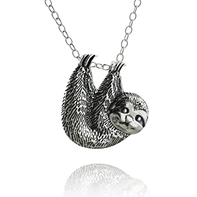 8dcc0e5ad94457 Image Unavailable. Image not available for. Color: Sterling Silver Textured  Sloth Slider Pendant ...
