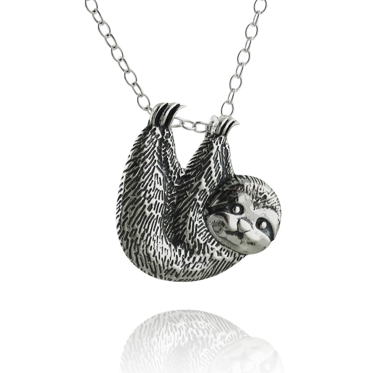 Sterling Silver Textured Sloth Slider Pendant Necklace, 18'' Cable Chain
