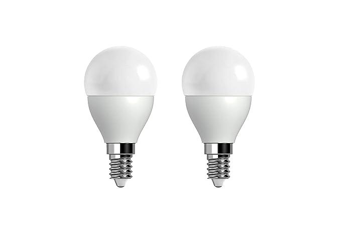 Pack de 2 Mini Bombillas LED 5W, color cálido 2700K, rosca E14 - equivalente