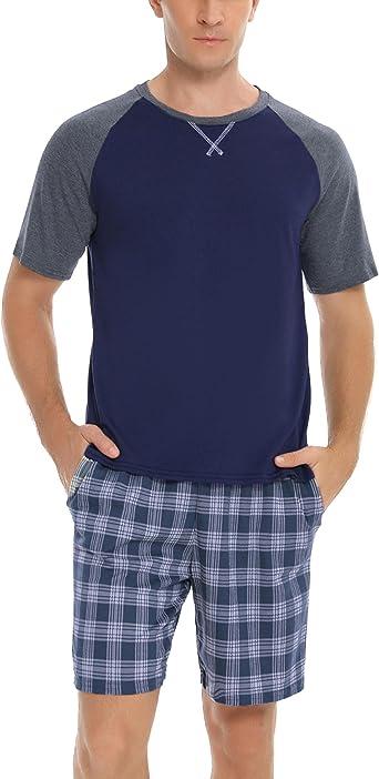 Hawiton Pijamas Hombre Verano de Manga Corta Pijama Hombre de Algodón Ropa de Dormir con Top y Pantalon 2 Piezas