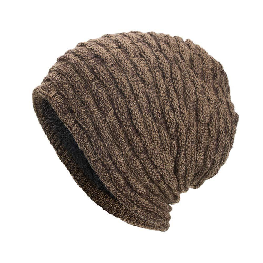 Hats for Women Men, Fashion Warm Baggy Weave Crochet Winter Wool Knit Ski Beanie Hat Skull Caps Khaki