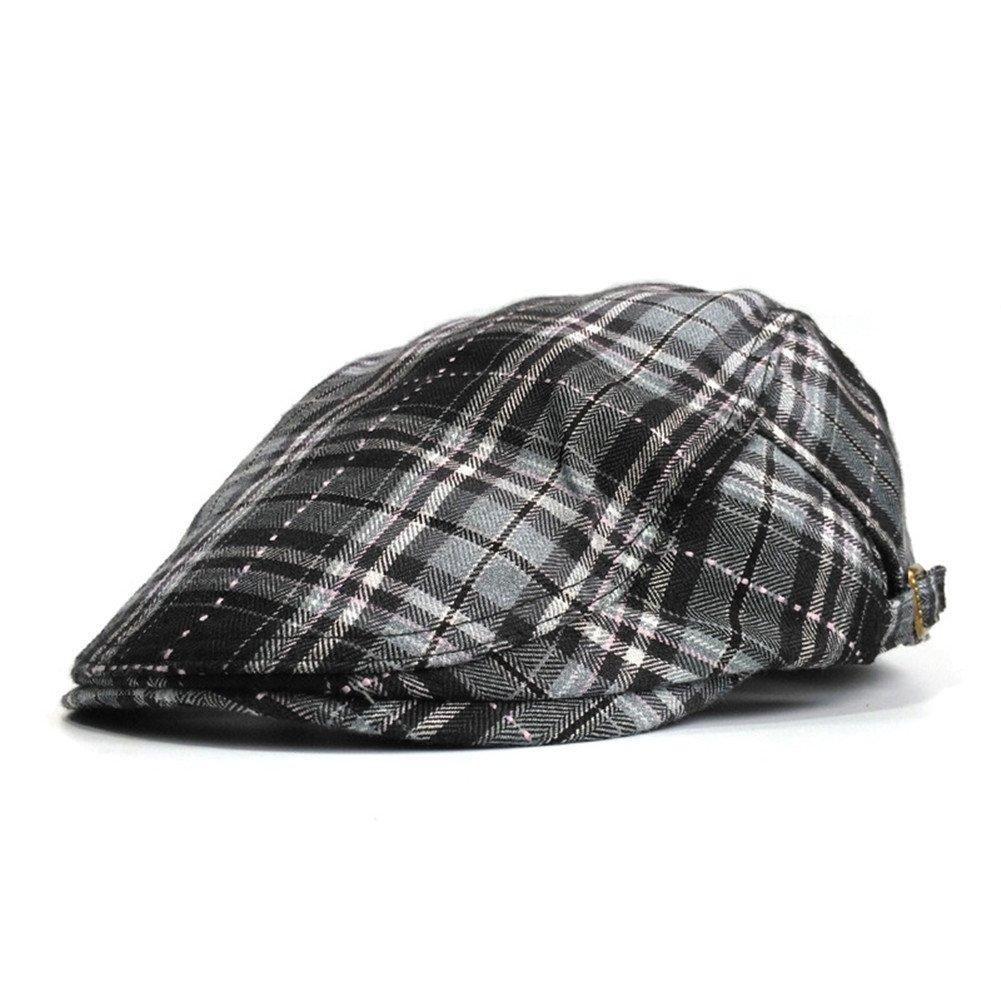 Soultopxin Men Adjustable newsboy Cap Male Cotton Warm Flat Hat Classical Grid