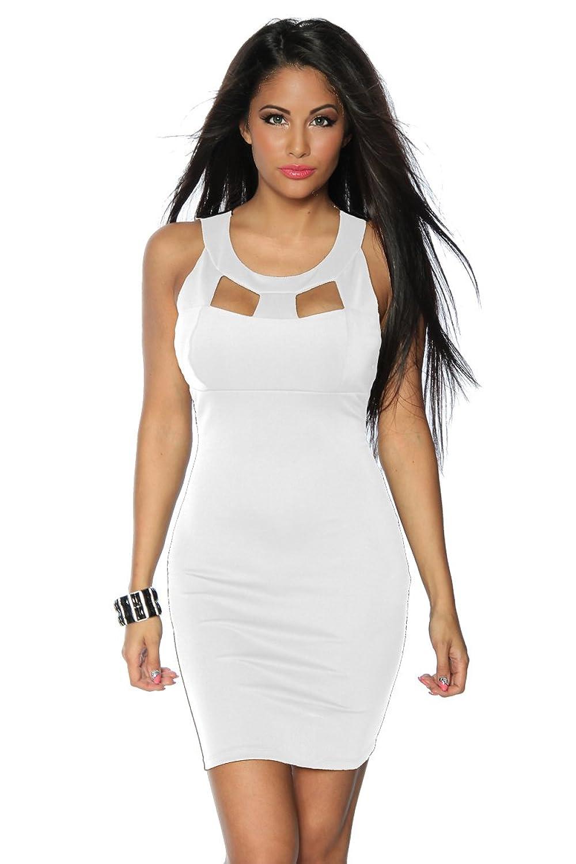 Weißes, elastisches Etui-Kleid / Cocktailkleid mit Rundhals ...