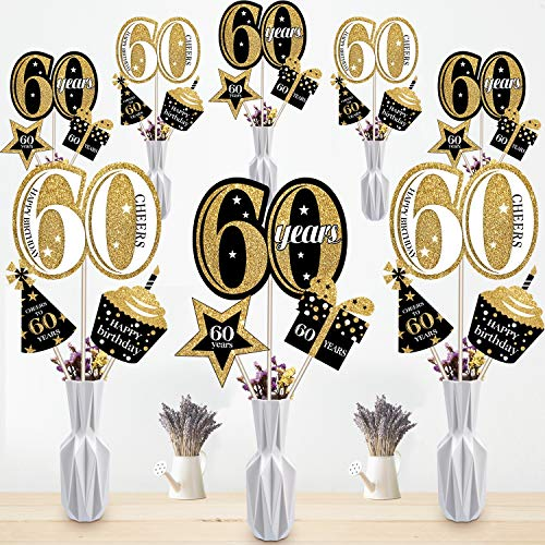 60th Birthday Table Centerpieces (Blulu 60th Birthday Party Decoration Set Golden Birthday Party Centerpiece Sticks Glitter Table Toppers Party Supplies, 24 Pack (60th)