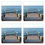 Liili Square Coasters Sunrise on a Pier over Atlantic Ocean in Tenerife Canary Islands Spain 29276554