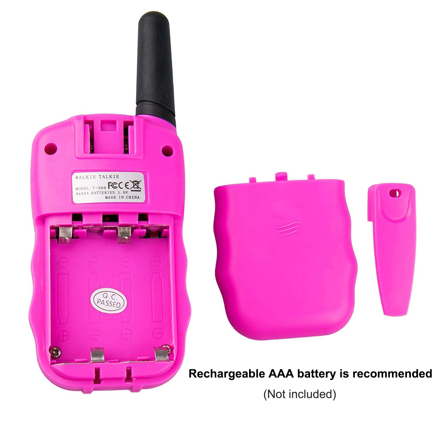 Qianghong T3 Kids Walkie Talkies 3-12 Year Old Children's Outdoor Toys Mini Two Way Radios UHF 462-467 MHz Frequency 22 Channels (Pink&Yellow&Blue) by Qianghong (Image #5)