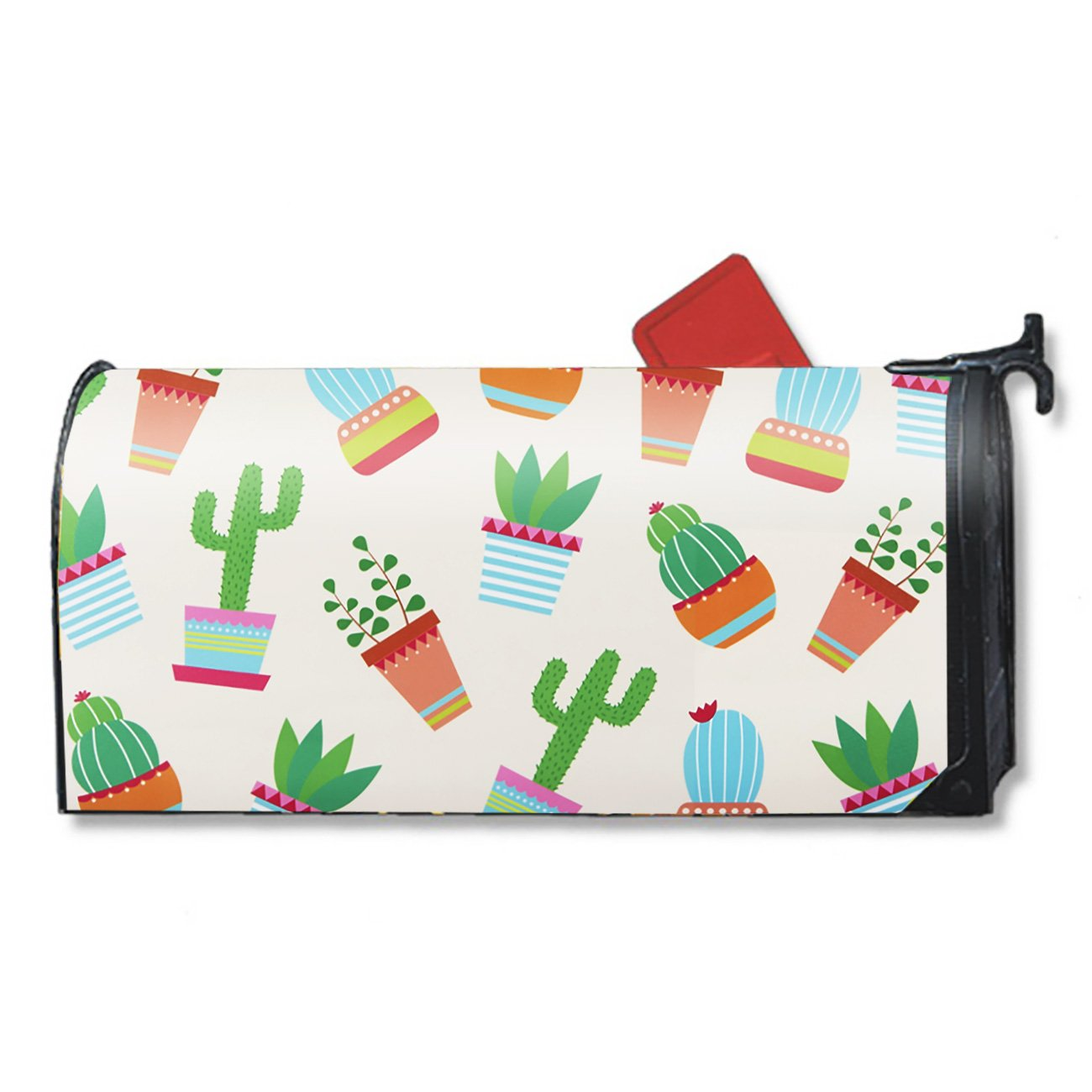 Magnetic Mailbox Cover - Spring Summer Themed, Decorative Vinyl Mailbox Wrap for Standard Size, Cactus Pattern Design - Rural Green Plants - Multicolor, 17.25 x 20.75 inches