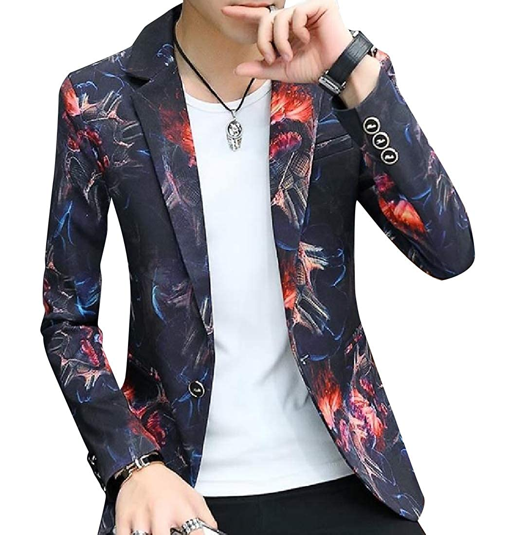 Freely Men's Slim Tailoring Floral Tribal Single Button Dress Suit