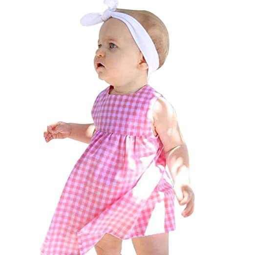 ebc11fec91 Amazon.com  Sagton® Infant Baby Girls Sleeveless Sweet Pink Plaid Dress   Clothing