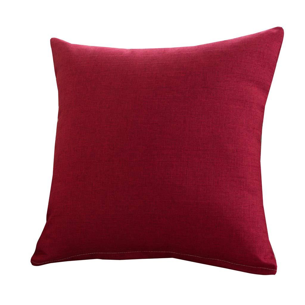 YTE Vintage Burlap Linen Throw Pillow Case Cushion Cover Farmhouse Square Decorative Pillowcase 18 Inch