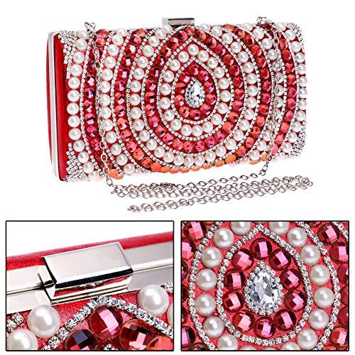 Sac Femme Main Pochette Bandouliere pour Fête Bourse Mariage Red Soirée à Maquillage Bal Chaîne Sac Clutch 5qIfCx
