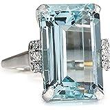 Goddesslili Classic Sky Blue Aquamarine Rings for Women Girlfriend Vintage Wedding Engagement Anniversary Simple Jewelry…
