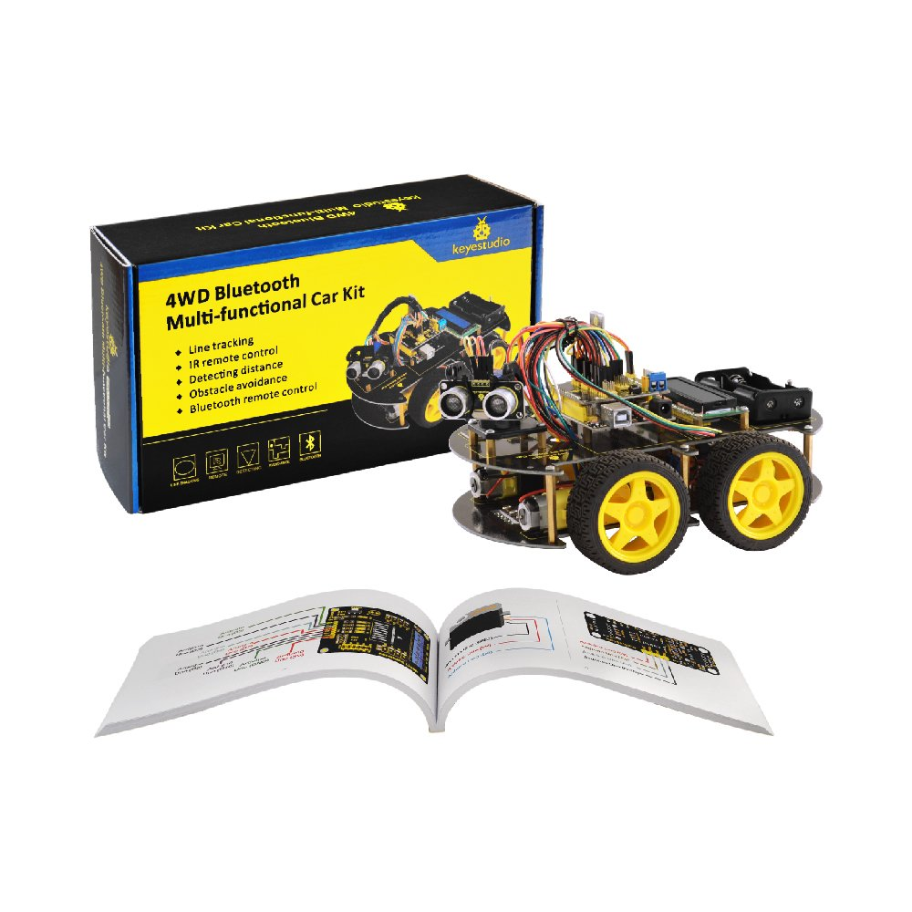 keyestudio Robot Kit for Arduino 4WD Bluetooth Multi-functional Smart Car Kit with UNO R3 and Tutorial, Stem Education Toy for Boys and Girls by KEYESTUDIO (Image #1)