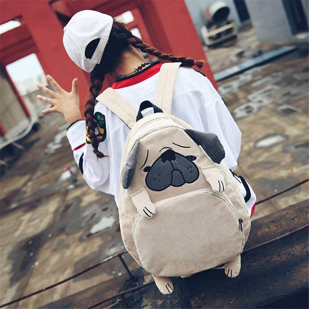Cute Troubled Face Pug 3D Dog//Fox Shape Backpack Animal Daypack For Girls