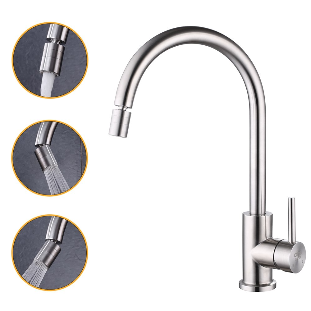 Commercial T304 Stainless Steel Single Handle Lead Free Brushed Nickel Kitchen Faucet with 360-Degree Swivel Faucet Aerator,Modern Heavy Duty Bar Kitchen Sink Faucet