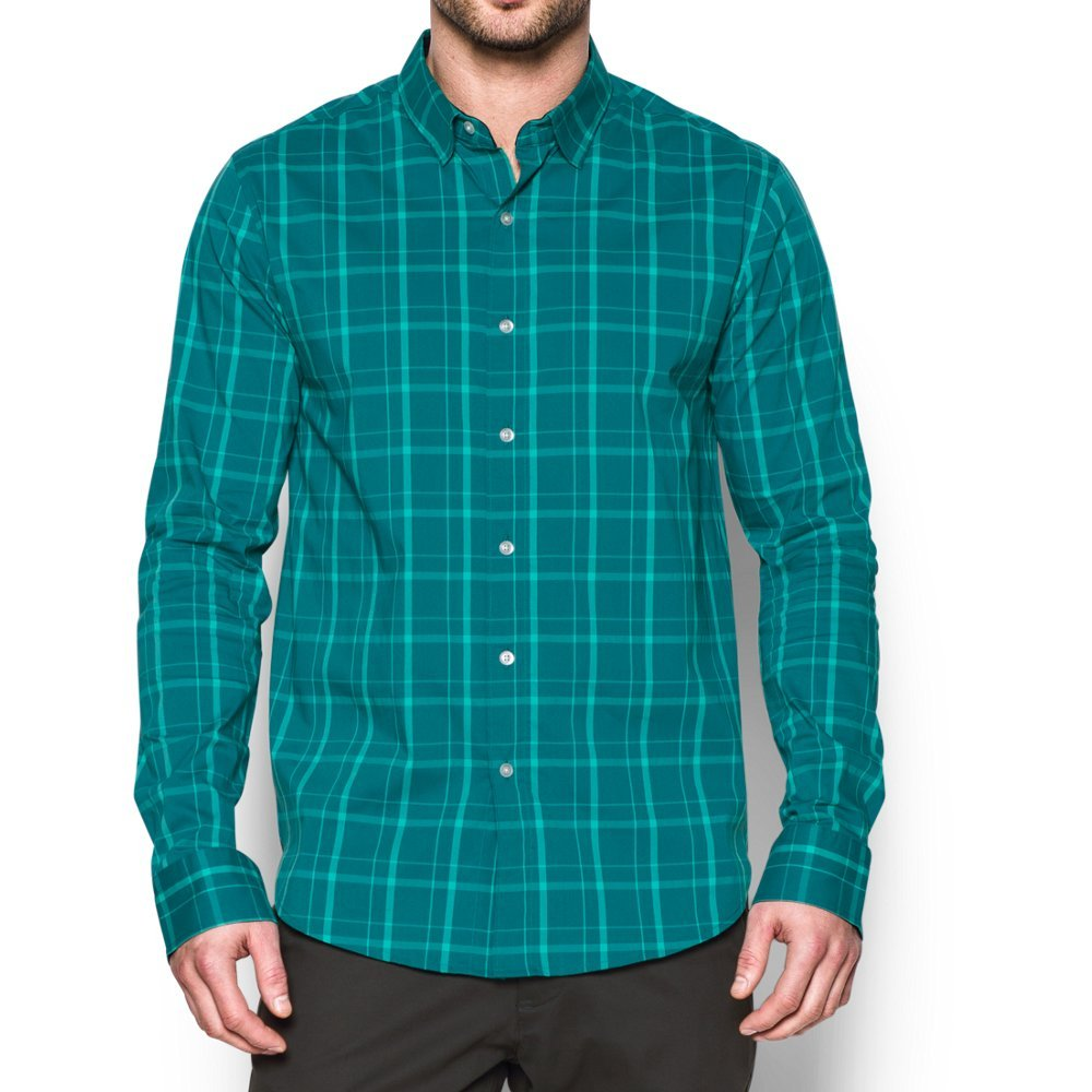 Under Armour Men's Performance Woven Shirt, Turquoise Sky (158)/Turquoise Sky, Small by Under Armour (Image #1)